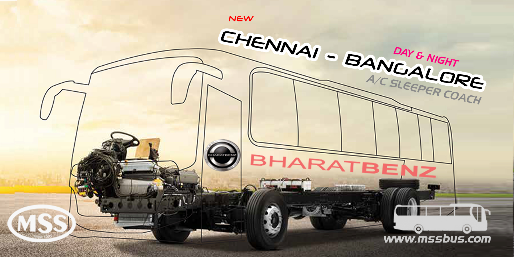 Starting brand NEW Bharath BENZ A/C Sleeper bus